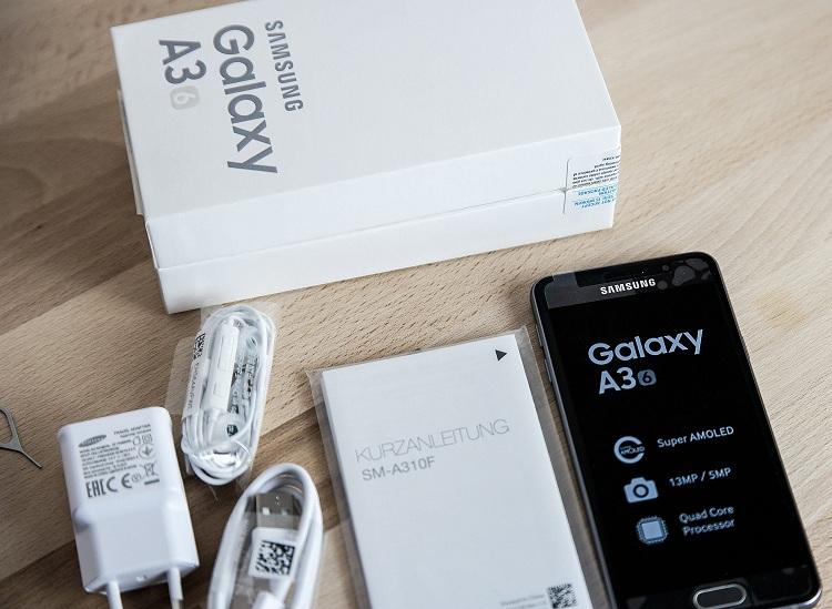 محتويات علبة هاتف Samsung Galaxy A3 2016
