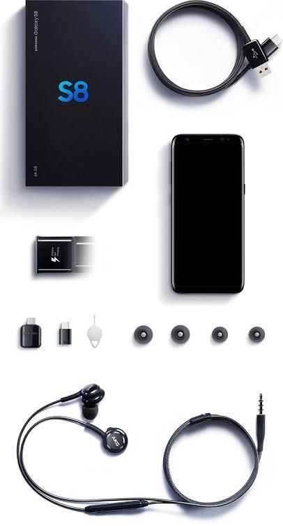 محتويات علبة هاتف Samsung Galaxy S8