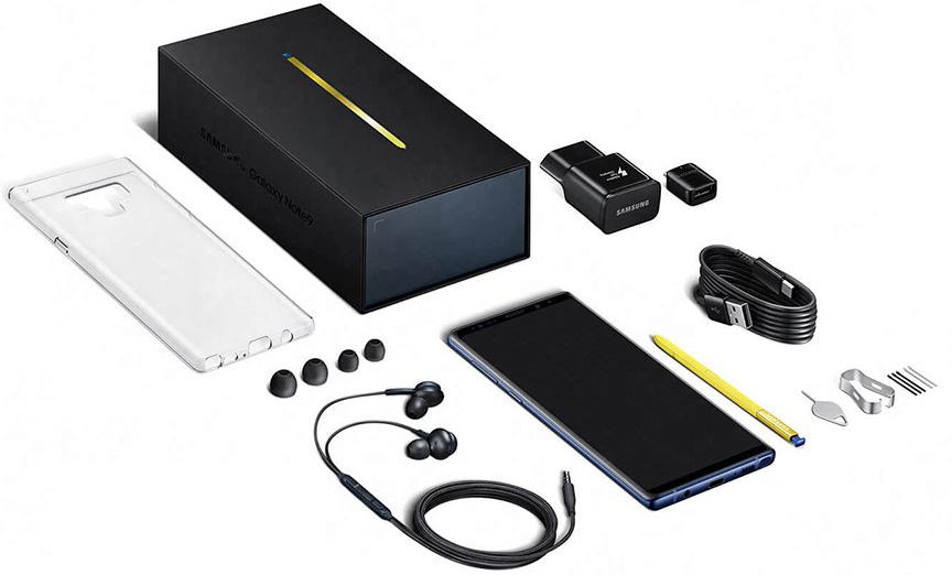 محتويات علبة هاتف Samsung Galaxy Note 9