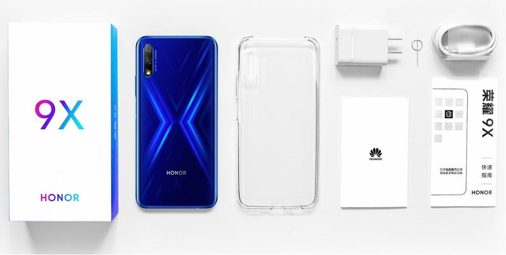 محتويات علبة هاتف Honor 9X
