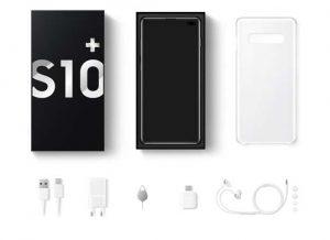 محتويات علبة هاتف Samsung Galaxy S10 Plus