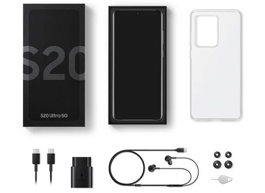 محتويات علبة Samsung Galaxy S20 Ultra