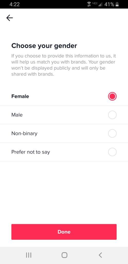 اختيار نوع الجنس في تيك توك