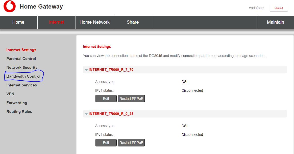 تحديد سرعة النت من الراوتر فودافون الجديد VDSL