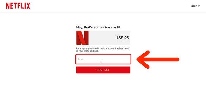 enter an email address