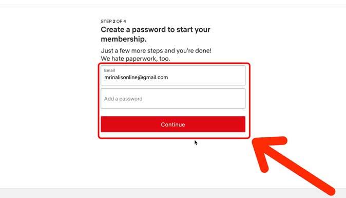 create a netflix password