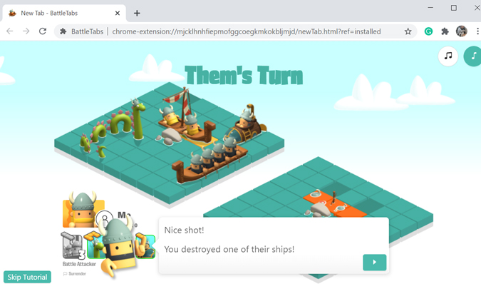Battle game new tab Chrome extension
