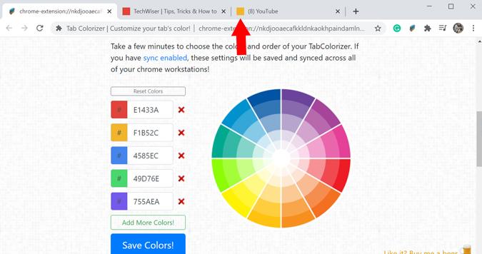 Change group tab color on Chrome