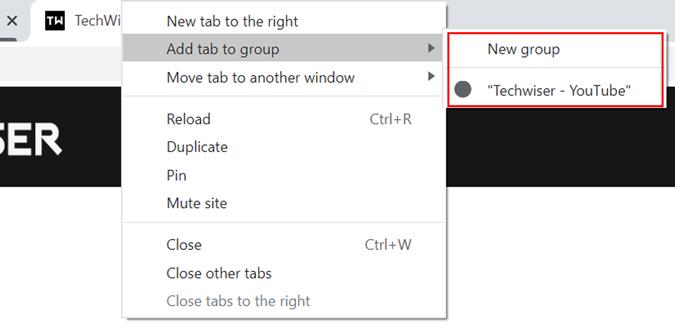 Chrome's tab group option