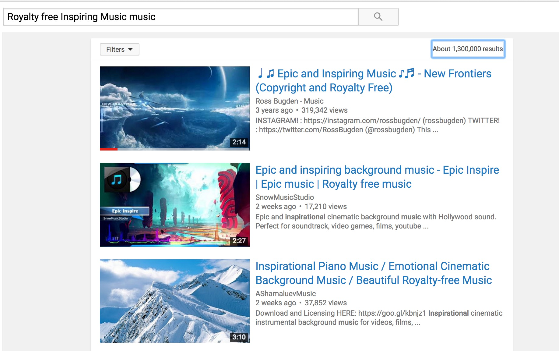 find background music from youtube videos using YouTube
