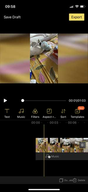 beecut app interface with a basic timeline and tools