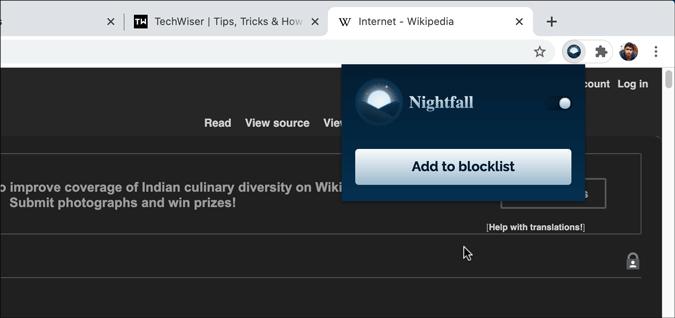 nightfall dark mode chrome extensions settings