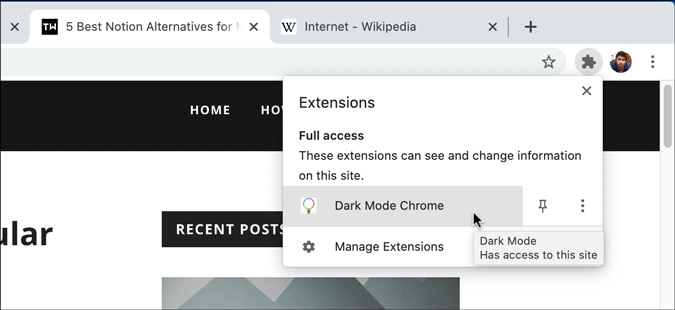turn on dark mode using dark mode chrome extension