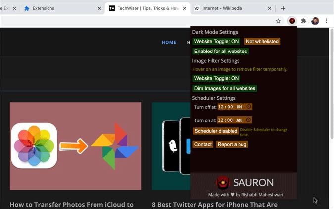 sauron chrome extension settings panel