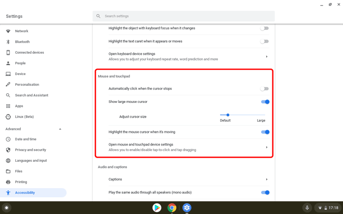 Change your mouse cursor in Chromebook