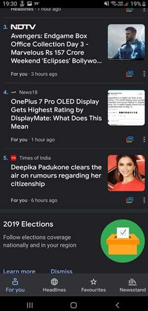 Google News with dark mode