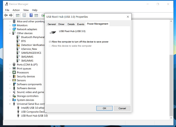 power management USB device option in windows 10