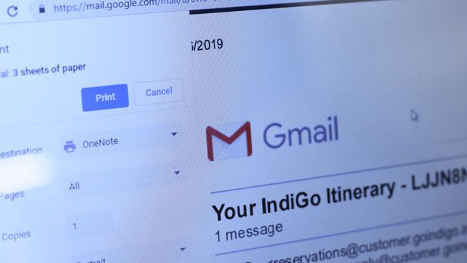 كيفية طباعة البريد الإلكتروني من Gmail بدون رأس