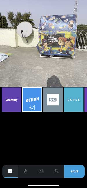 quik video editor with different templates, and a toy house in frame