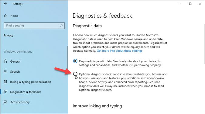 diagnostics feedback settings panel windows 10