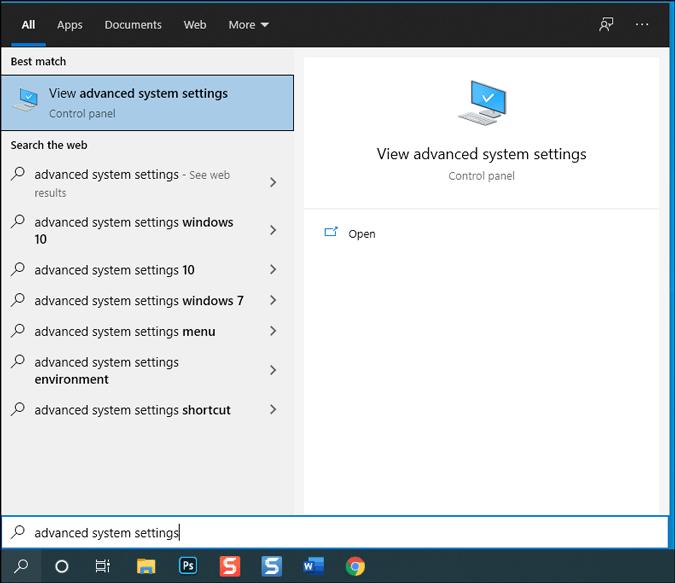 open advanced system settings on windows 10