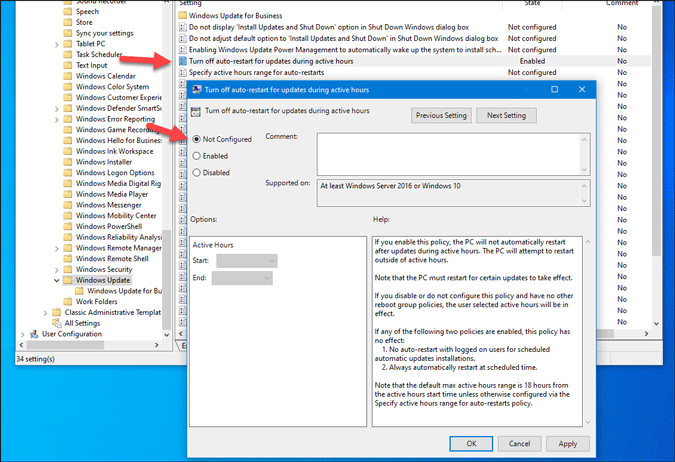 set group policy setting as not configured
