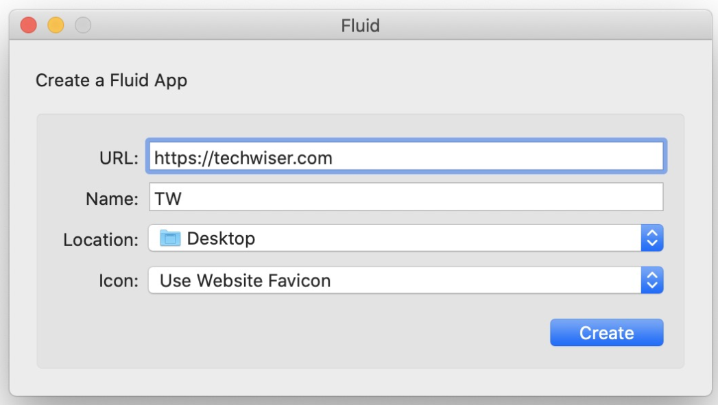 using fluid app to create web app from website