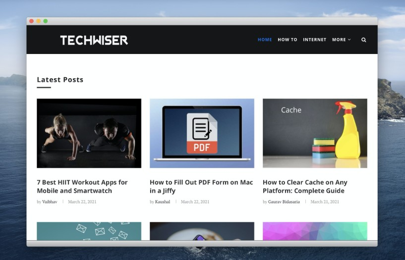 demo of website working as web app on macOS