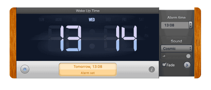 wake up time- alarm app for mac that looks like an actual alarm clock